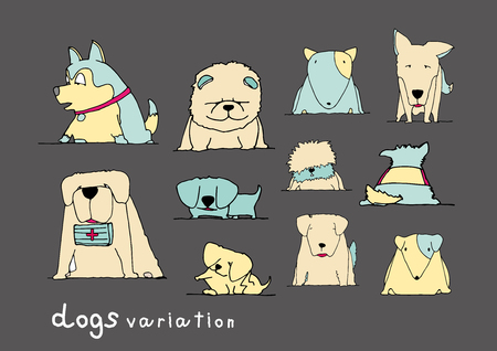 bull pen: Dogs variation doodle pastel color on dark grey background