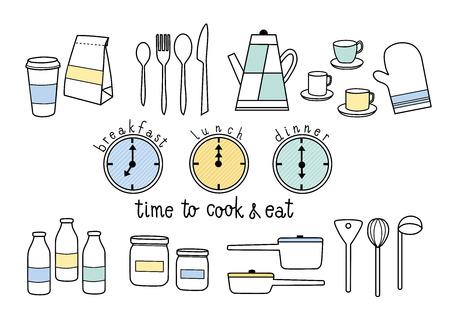 調理し、朝食、昼食、夕食を食べる時間