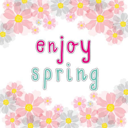 enjoy: enjoy spring pink cherry blossom Illustration
