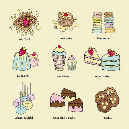 turkish dessert: Bakery menu doodle pastel color scheme