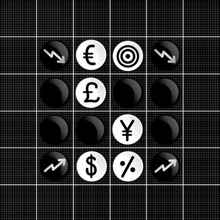 Stock markets trade set iconin  othello game