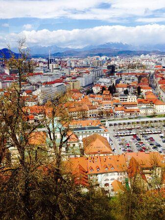 ljubljana: Viewpoints of Ljubljana oldtown city in slovenia Stock Photo