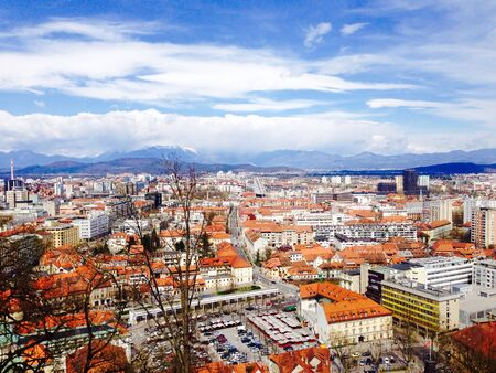 viewpoints: Viewpoints of Ljubljana oldtown city in slovenia Stock Photo