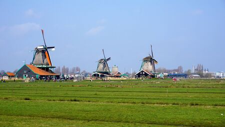 Landscape of windmills and field in holland photo