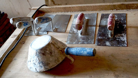 handtools: Handtools for clay or mortar wall finishing Stock Photo