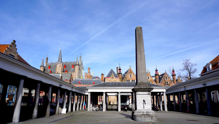 bruges: fish market in Bruges, Belgium