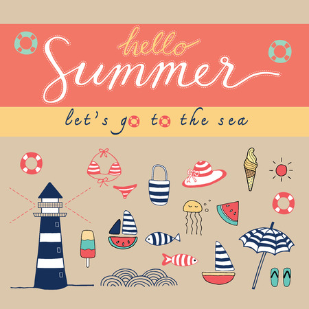 Hello Summer doodle colorful pastel color scheme Vector