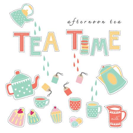 Tea time afternoon tea doodle illustration pastel color vector on white background teapot, tea cup, tea bag, cake