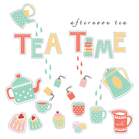 Tea time afternoon tea doodle illustration pastel color vector on white background teapot, tea cup, tea bag, cake
