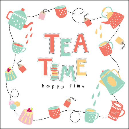 Tea time happy time doodle illustration pastel color vector on white background teapot, tea cup, tea bag, cake Vector