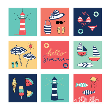 Hello Summer doodle colorful square icons Vector