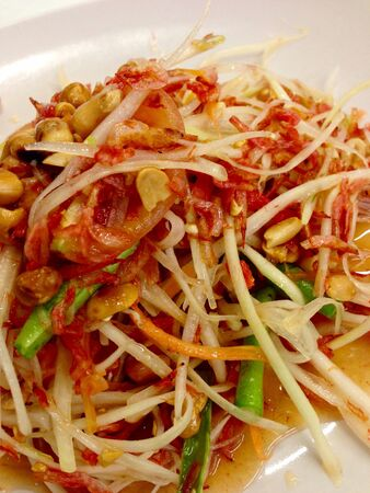 thai food: Somtam papaya thai food Stock Photo