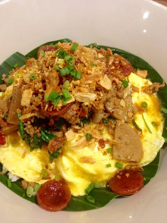 basil herb: Basil herb with pork rice and omelette Stock Photo