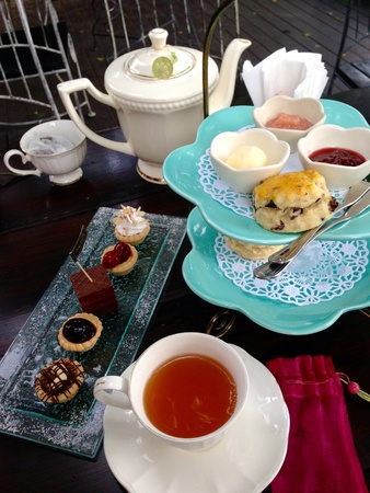 scone: Afternoon tea set and cakes and scone