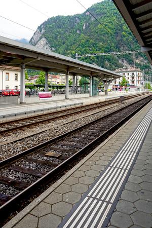 interlaken: Track of train railway station Interlaken Switzerland