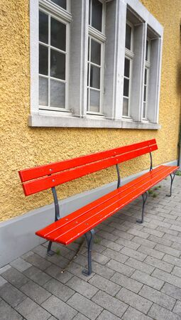 seating area: Seating area at Train station Vitznau Lucerne  Switzerland Editorial