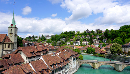 viewpoints: viewpoints of historical old town city and church on bridge in Bern Switzerland