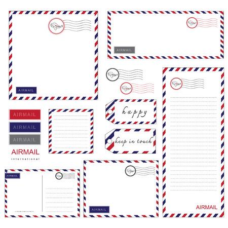 Airmail ensemble de papeterie enveloppe de papier à lettre Banque d'images - 40824212