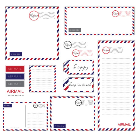Airmail Stationery set paper letter  envelope Illustration