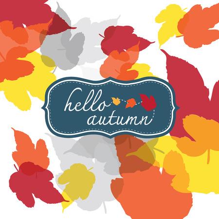 Hello Autumn Square on white background Vector
