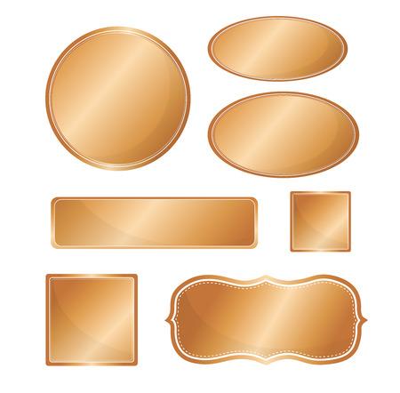 copper: Blank metallic icon set copper color