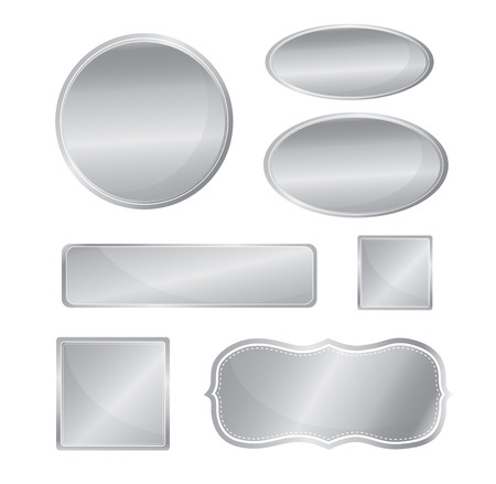 icon 3d: Blank metallic icon set silver color