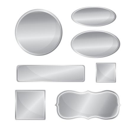 ovalo: Icono metálico blanco establecer el color plata