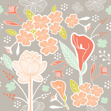 Flower or Floral and leaf pattern seamless fabric vector pastel color scheme on light grey background Vector