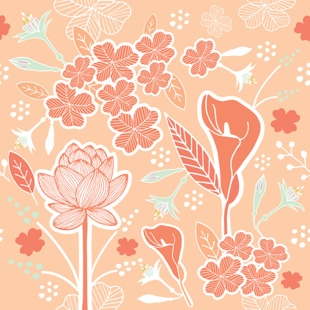 Flower or Floral and leaf pattern seamless fabric vector pastel color scheme on pastel peach background Çizim