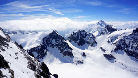 scenery of Valley Titlis snow mountains Engelberg Switzerland 写真素材