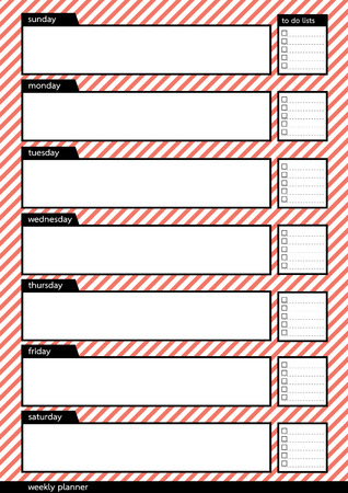 Weekly planner black frame with white and red pink stripe pattern background Illustration