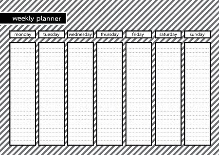 weekly planner: Weekly planner black frame with white grey stripe pattern background Illustration
