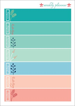 Weekly planner pastel color sweet with ornaments Illustration