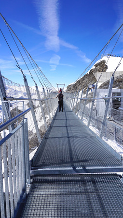 suspended: Suspended walkway snow mountains Titlis Engelberg Switzerland
