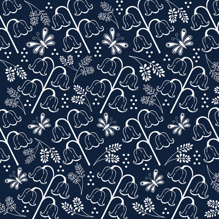azul marino: flores y hojas ilustración mano doodle línea de blanco y azul marino de color azul de fondo Vectores