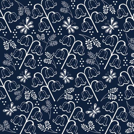 navy blue: flower and leaf hand drawn doodle illustration white line and navy blue color background