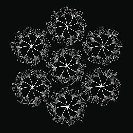 gingko: white gingko leaf circle sketch doodle pattern on black background Illustration