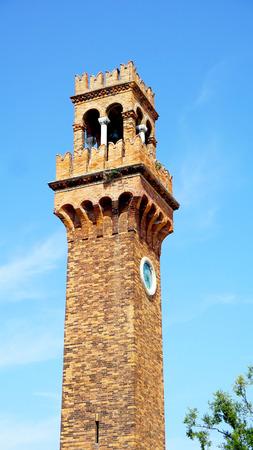Murano: clock tower landmark in Murano, Venice, Italy