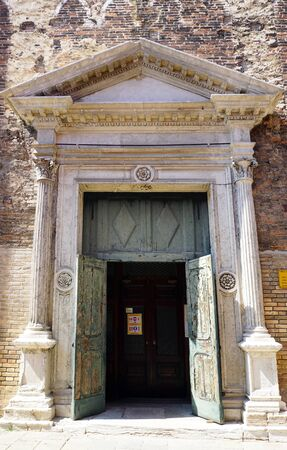 Murano: door chuch in Murano, Venice, Italy Stock Photo