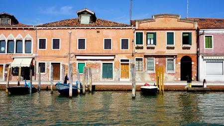 Murano: front building architecture and river in Murano, Venice, Italy