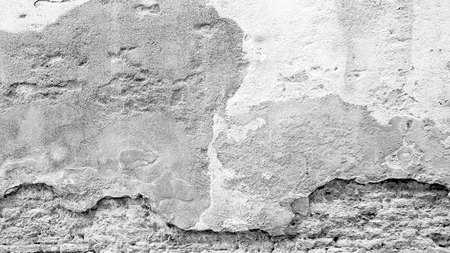 grey scale: grey scale decay wall mixed with brick background in Venice, Italy Stock Photo
