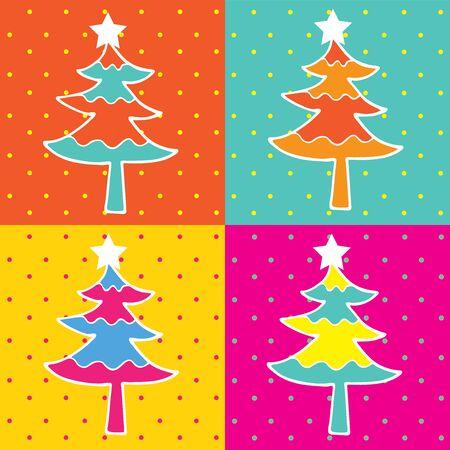 arte moderno: �rbol de navidad del arte pop de cuatro cuadro
