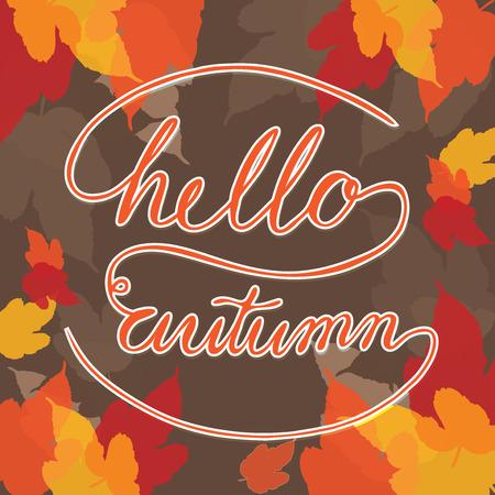 leaf background: Hello Autumn Square with leaf background Illustration