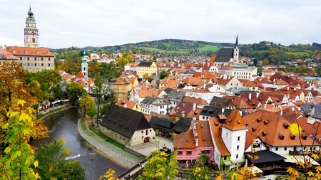 unesco in czech republic: Cesky Krumlov oldtown city and river view in Autumn