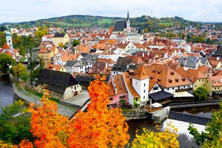 viewpoints: Viewpoints of Cesky Krumlov oldtown city and river in Autumn Editorial