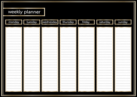 weekly: Weekly planner metallic gold and black frame horizontal