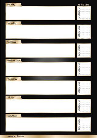 weekly: Weekly planner metallic black and gold smart frame vertical