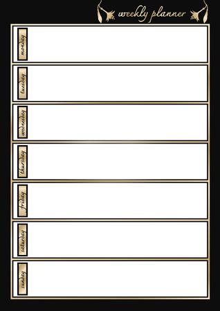 weekly: Weekly planner metallic  gold and black frame