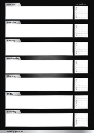 Weekly planner metallic  silver and black frame