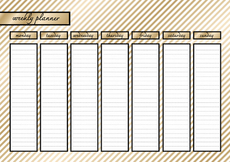 week planner: Weekly planner metallic  gold and black frame white gold stripe Illustration